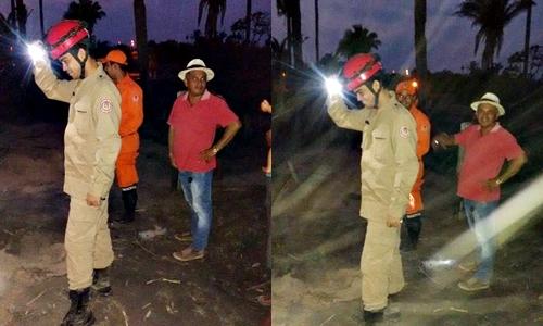 Visita do corpo de bombeiros ao local, acompanhado do ex-prefeito de Lima Campos, Xarim)