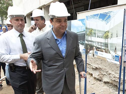 O ex-governador do Rio de Janeiro Sérgio Cabral (PMDB), em visita a obra