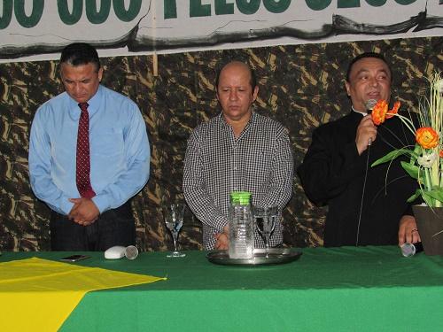 Pr. Augusto, Frei William e Pe. José Geraldo (Celebração ecumênica pelos 71 anos do TG de Pedreiras (Foto: Sandro Vagner)