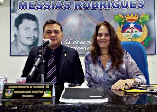 Vereador Robson Rios e a vereadora Cláudia Alencar (Foto: Sandro Vagner)